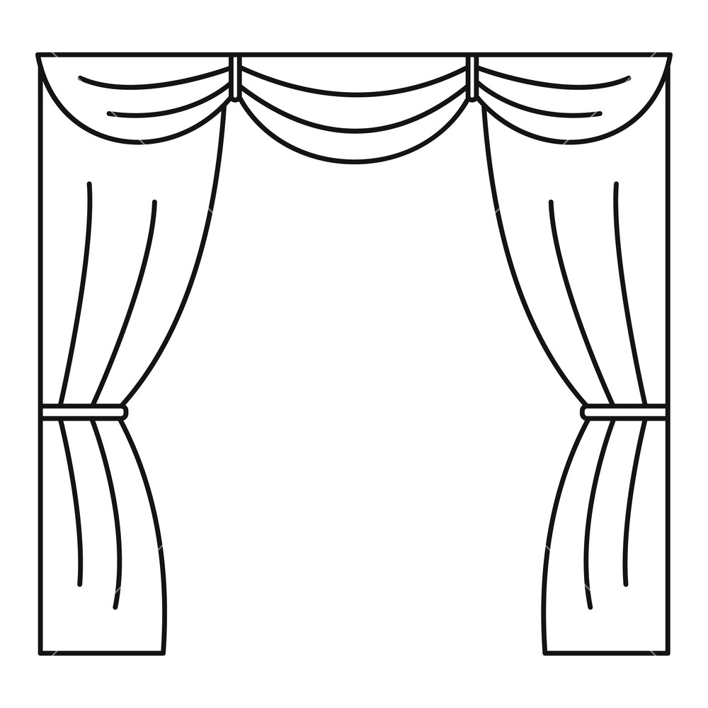 1000x1000 curtain on stage icon outline illustration of curtain on stage