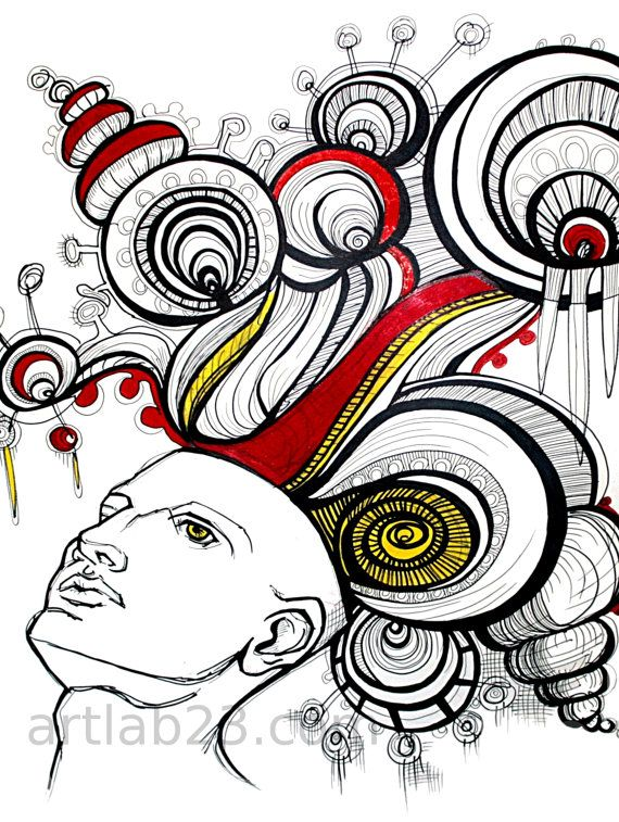 570x757 Dreaming Man Art Print Psychedelic Drawing Ink