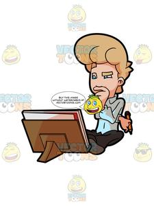 225x300 A Man Thinking Of Ways To Edit His Sketch Clipart Cartoons