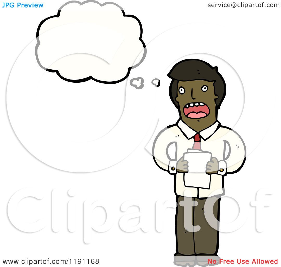 1080x1024 Cartoon Of An African American Man Reading And Thinking