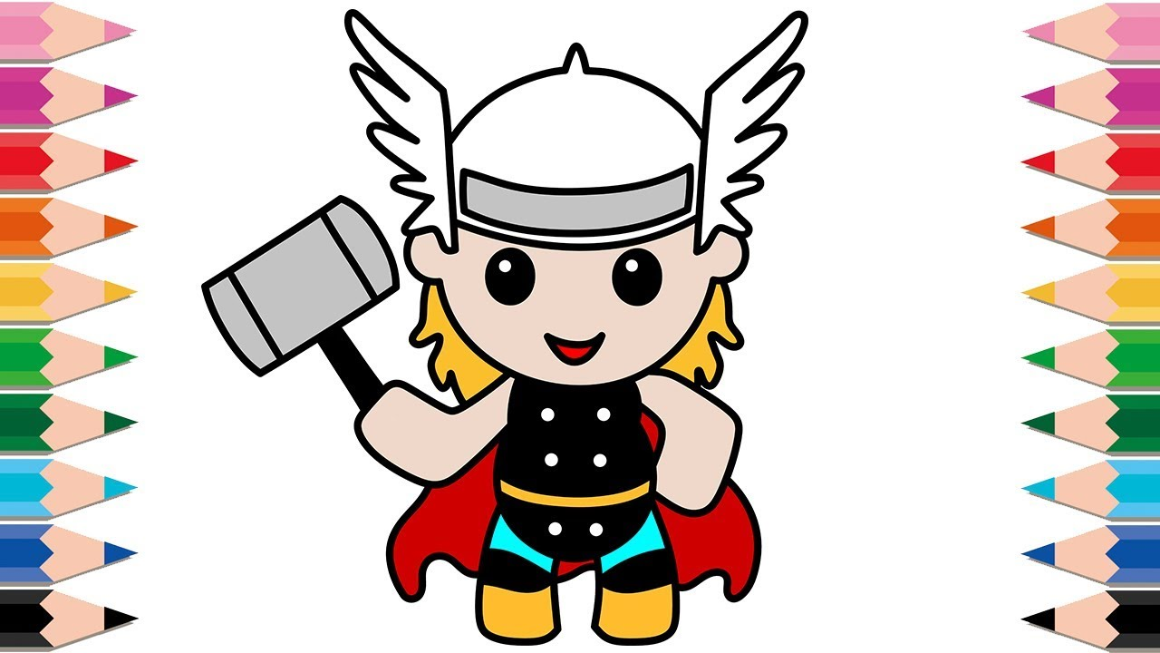1280x720 How To Draw Thor Coloring Pages For Kids Avengers Superheroes