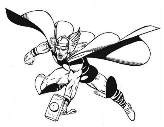 527x406 Superhero Coloring Pages Thor Murderthestout