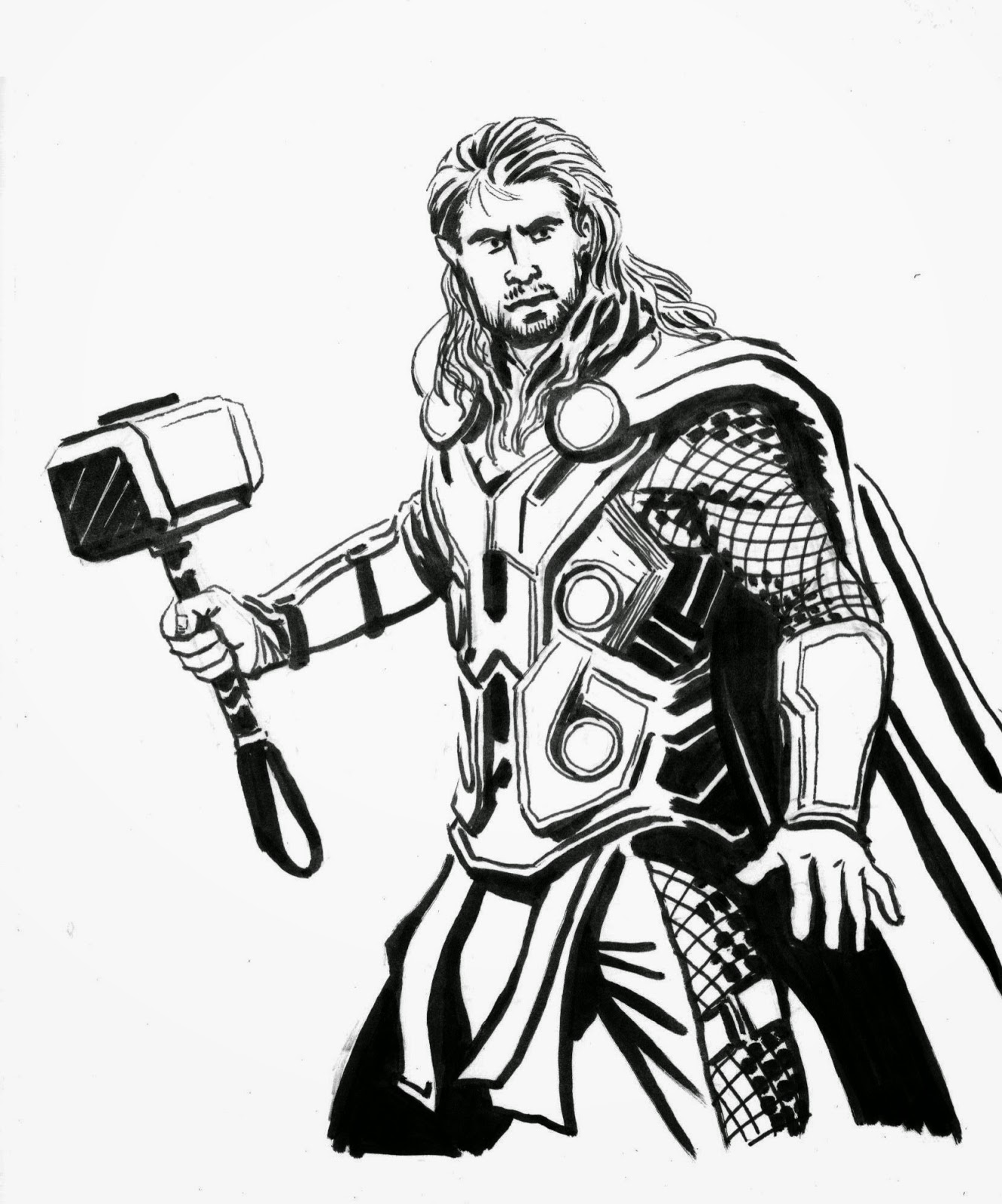 1331x1600 Thor Drawing Free Download