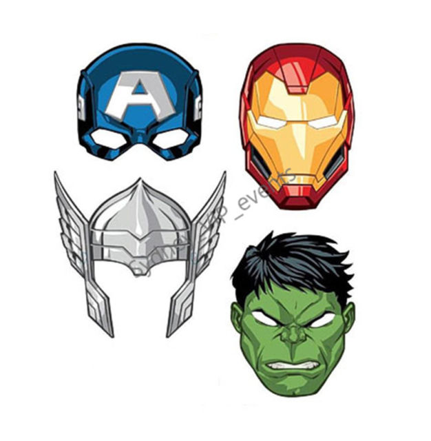 626x640 Avengers Masks Birthday Party Super Hero Thor Hulk Iron Man