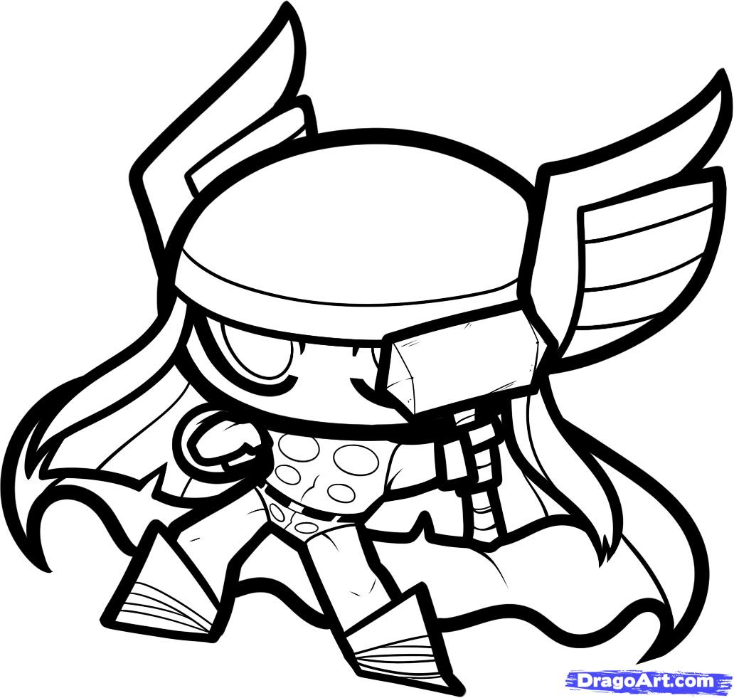 1032x981 Thor Drawing Cute For Free Download