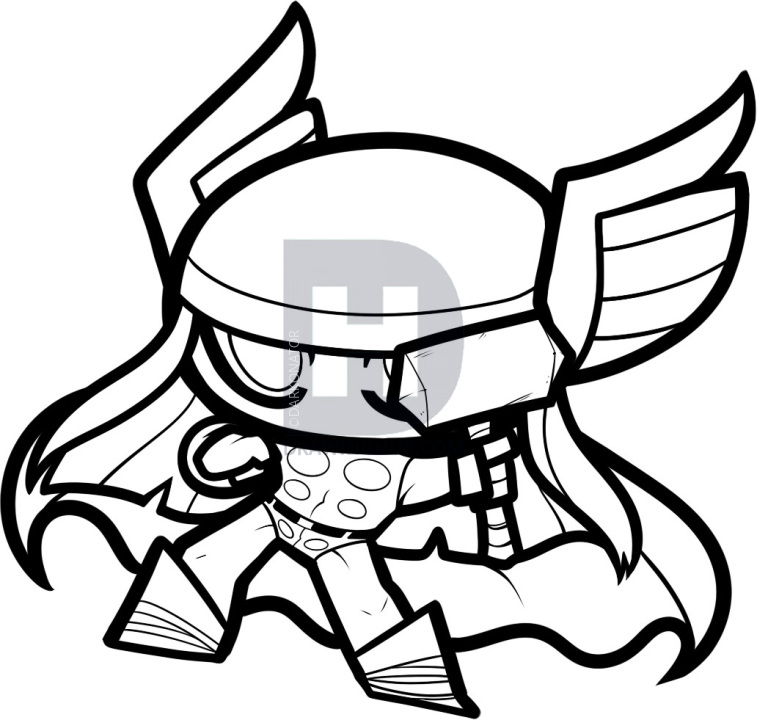 757x720 How To Draw Chibi Thor, Step