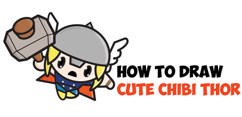500x242 How To Draw Cute Chibi Kawaii Thor From Marvel Comics In Easy