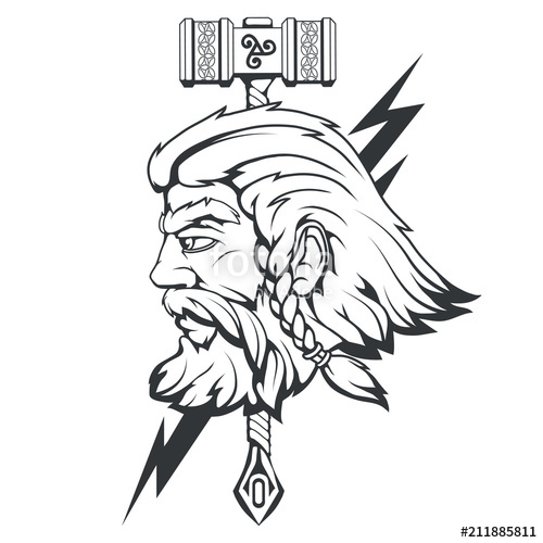 500x500 Scandinavian God Of Thunder And Storm Hand Drawing Of Thor's Head