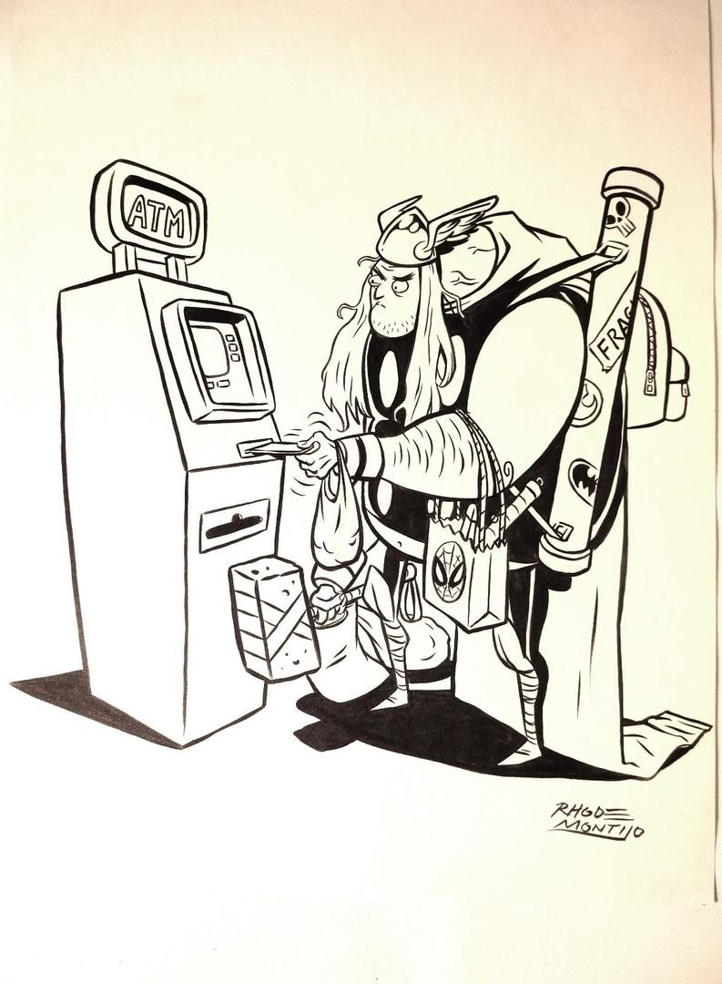 793x1080 Original Drawing Thor Versus The Atm