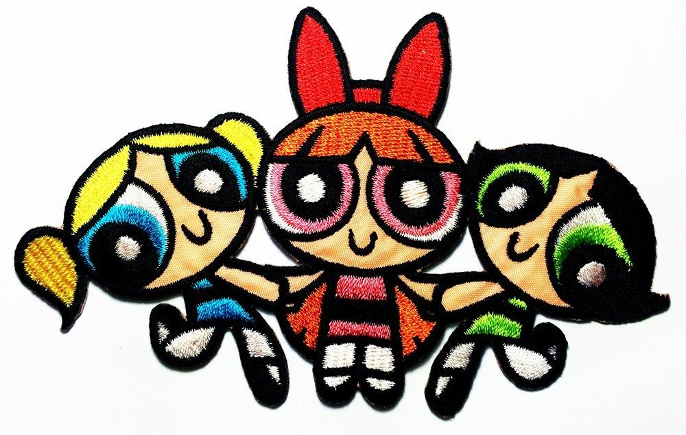 1000x635 three girls cartoon powerpuff girls logo patch jacket