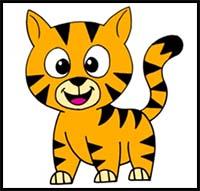 200x191 how to draw cartoon tigers realistic tigers drawing tutorials
