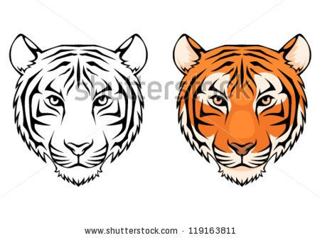 450x335 line drawing of tiger face gift ideas tiger drawing, tiger