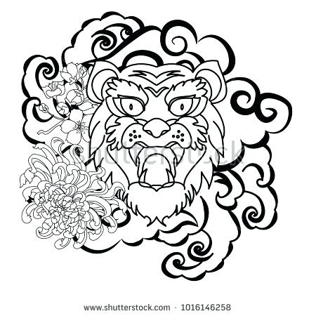450x450 Tiger Drawing Outline Outline Tiger