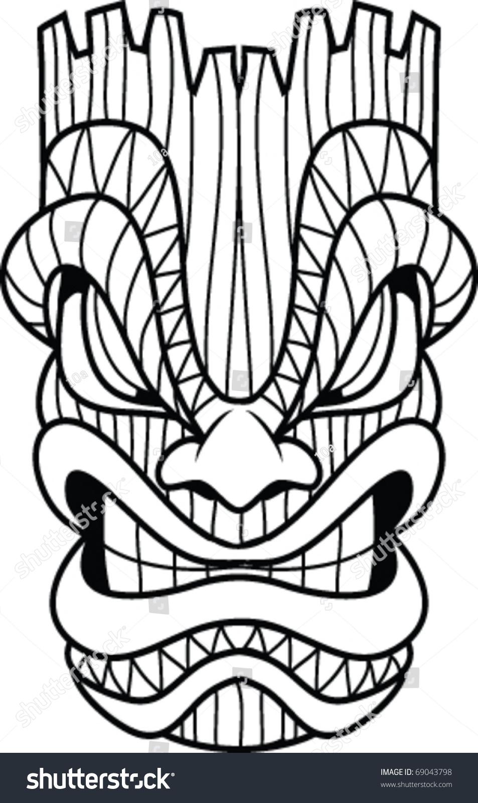 953x1600 tiki face clip art tiki masks drawing