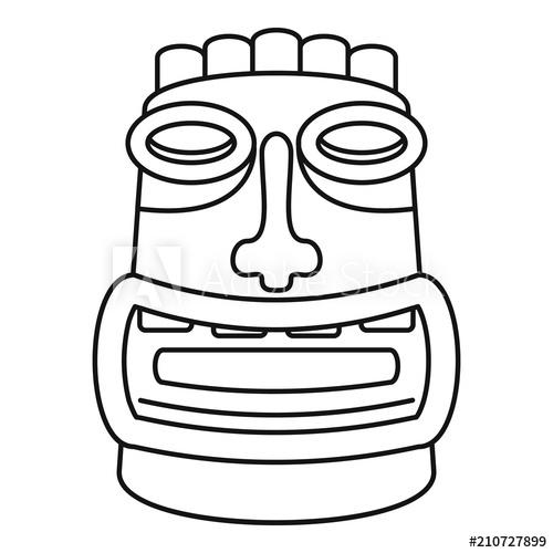 500x500 tiki idol mask icon outline tiki idol mask vector icon for web