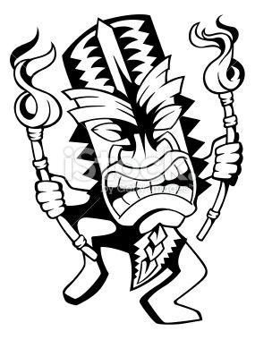 285x380 dancing hawaiian tiki in tikis tiki head, art, tiki decor