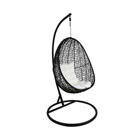 480x480 Black Cocoon Swing Chair, White Cushion Metro Department Store
