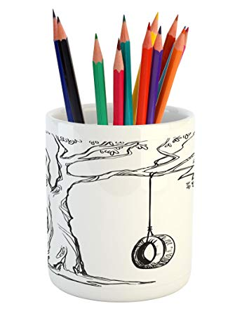 345x450 Ambesonne Tree Pencil Pen Holder, Tree With A Tire
