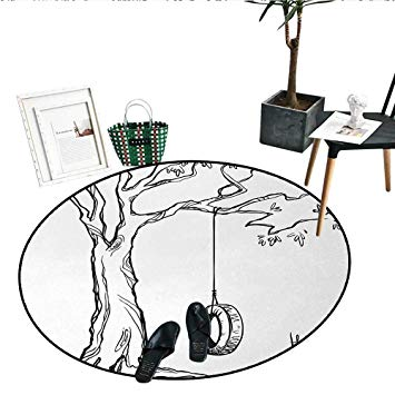 355x355 Tree Round Area Rug Tree With A Tire Swing