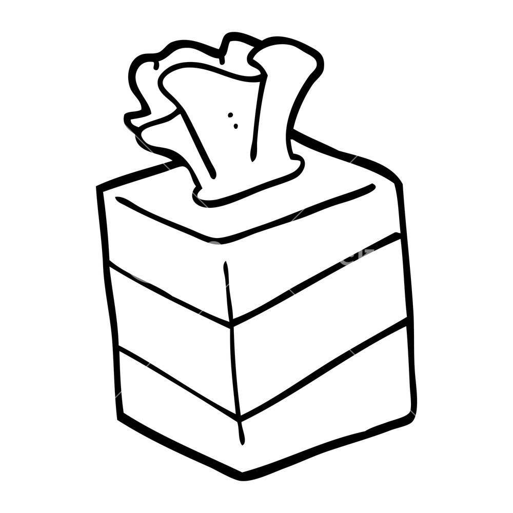 1000x1000 Black And White Cartoon Tissue Box Royalty Free Stock Image