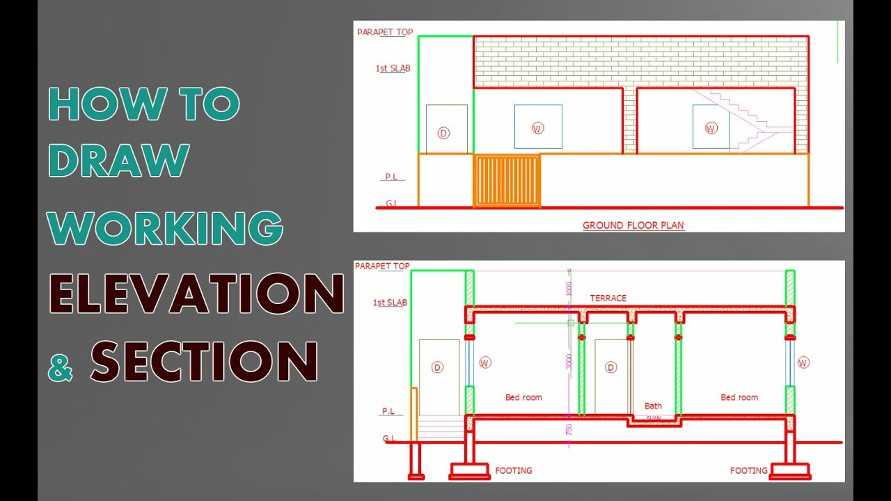1280x720 Elevation And Section In Autocad How Draw Very Easy Fast
