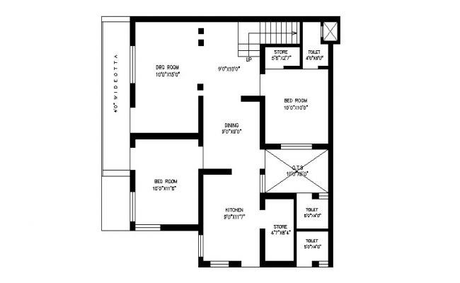 650x400 House Plan With Detail Dimension In Dwg