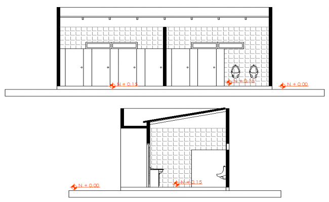 650x400 Toilet Elevation Detail Dwg