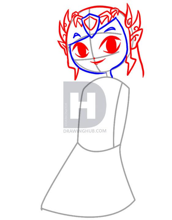 562x720 How To Draw Toon Zelda, Step