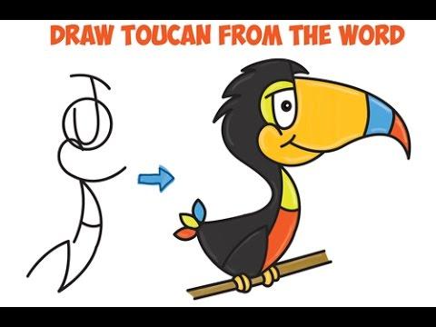 480x360 How To Draw Cartoon Toucan Word Toon Cartoon Easy Step