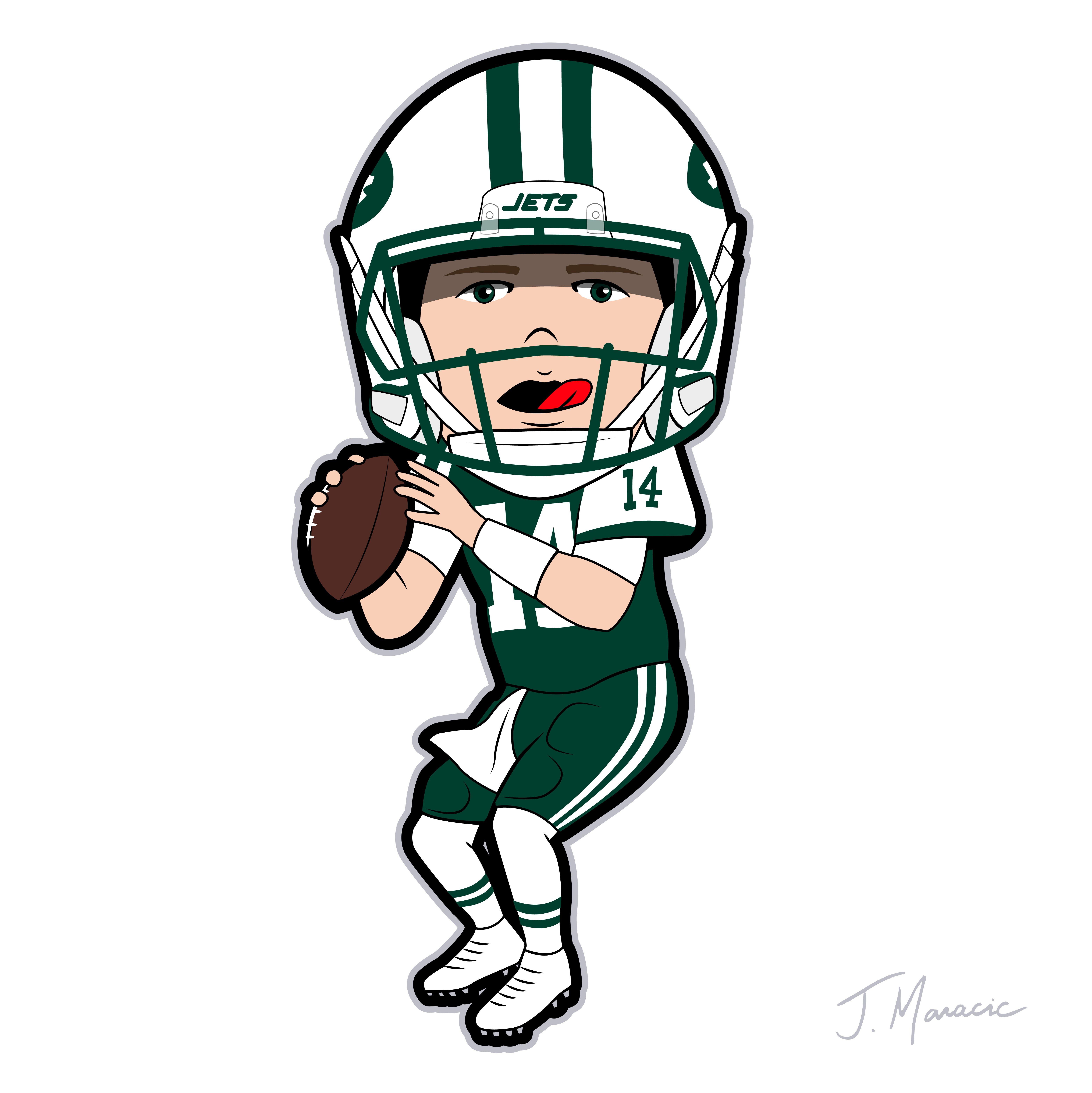 6245x6250 Toon Drawing Of Ny Jets Sam Darnold Joe Maracic