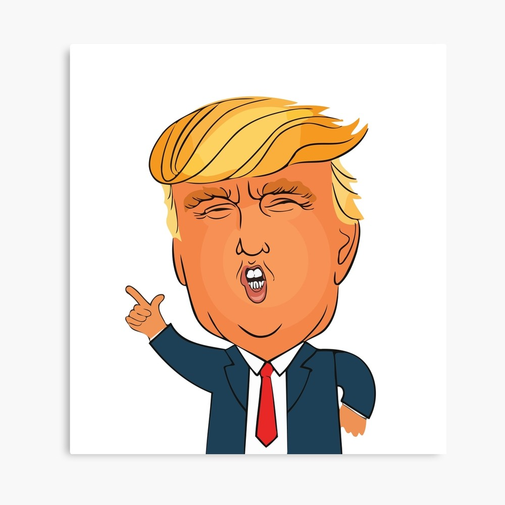1000x1000 Donald Trump Cartoon Toon Drawing Funny Crazy Election Canvas