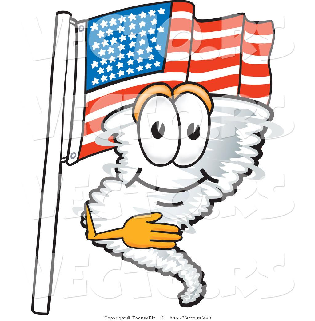 1024x1044 vector of a cartoon tornado mascot pledging allegiance