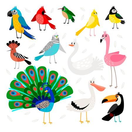 450x450 Birds Tropical And Exotic Drawing Wild Bird Set Vector