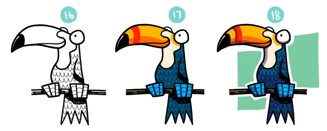 640x257 How To Draw A Cartoon Toucan