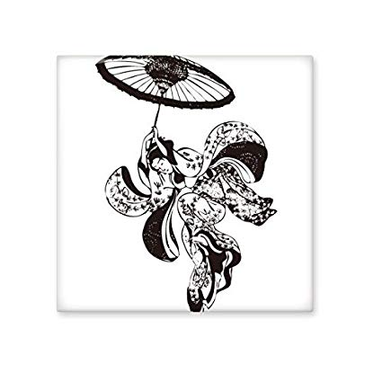 425x425 Japan Traditional Culture Black Kimono Woman Umbrella Line Drawing