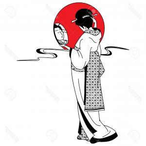 300x300 Japanese Geisha Girl Woman Drawing Vector Orangiausa
