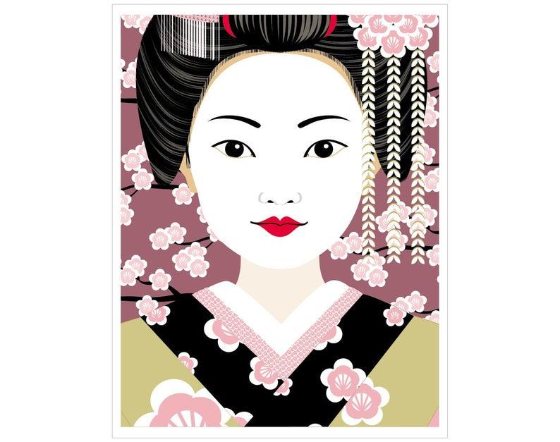 794x627 Japanese Geisha Wall Art Print Featuring Traditional Dress Etsy