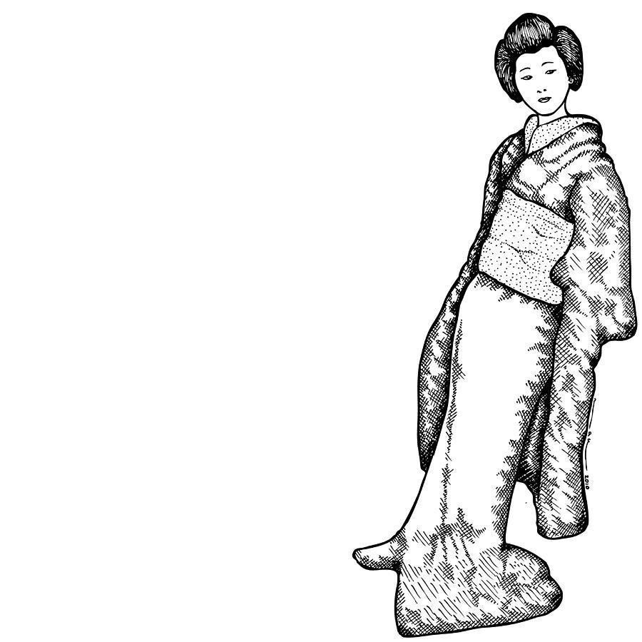 900x900 Japanese Geisha Women Drawing