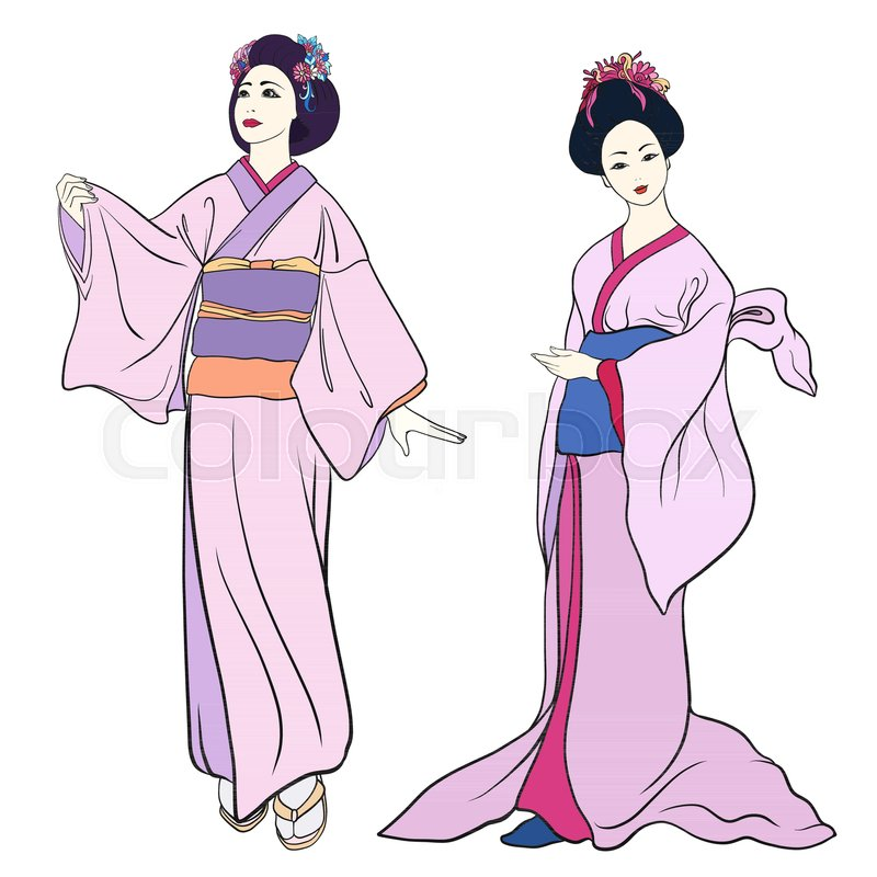 800x800 Young Women In Traditional Japanese Stock Vector Colourbox