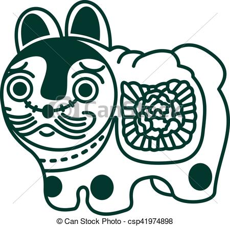 450x443 vector illustration japanese symbol toy dog vector illustration