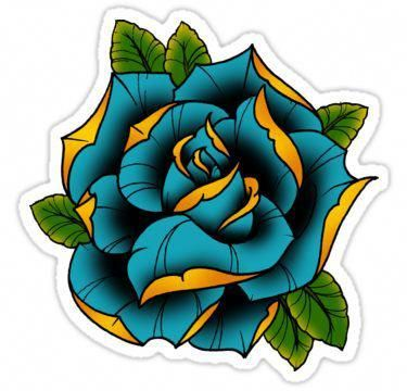 375x360 Neotraditional Rose In Blue Sticker Tattoo Ideas Blue Rose