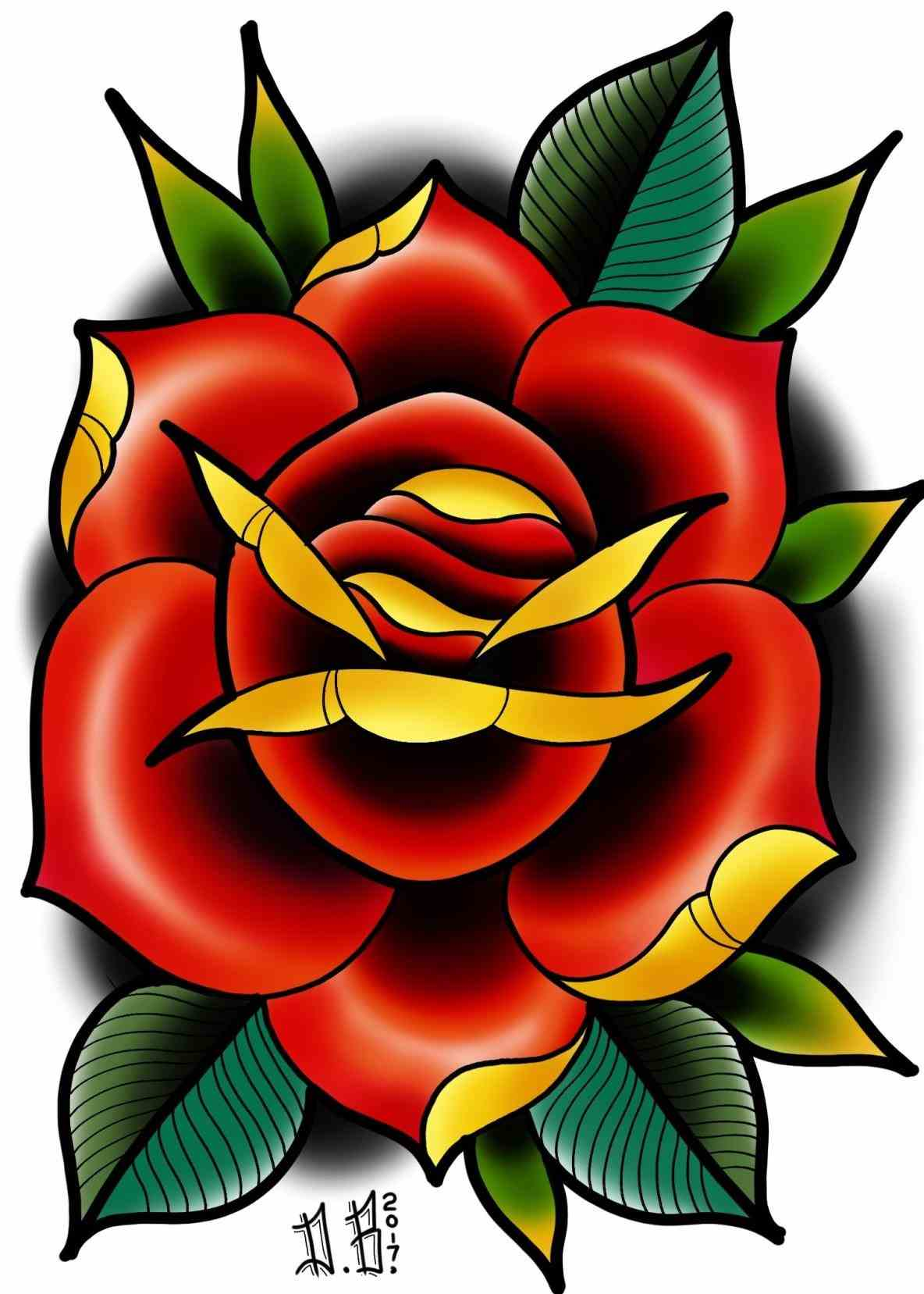 1184x1657 American Traditional Rose Tattoo Flash Meek Tattoos American