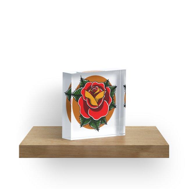 650x650 Bright Traditional Rose Tattoo Acrylic Blocks