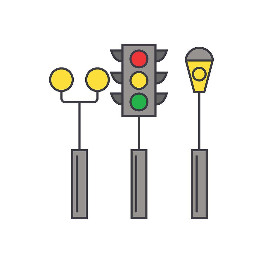 900x900 traffic light line icon concept traffic light flat vector sign
