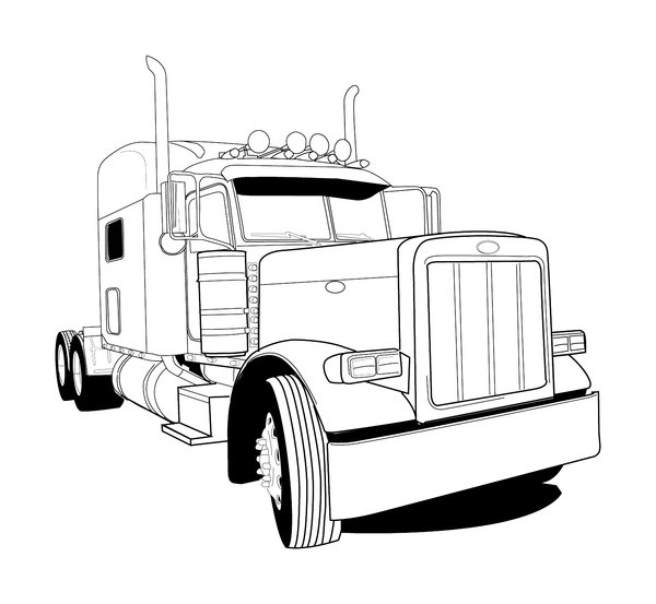 Trailer Truck Drawing | Free download best Trailer Truck ...