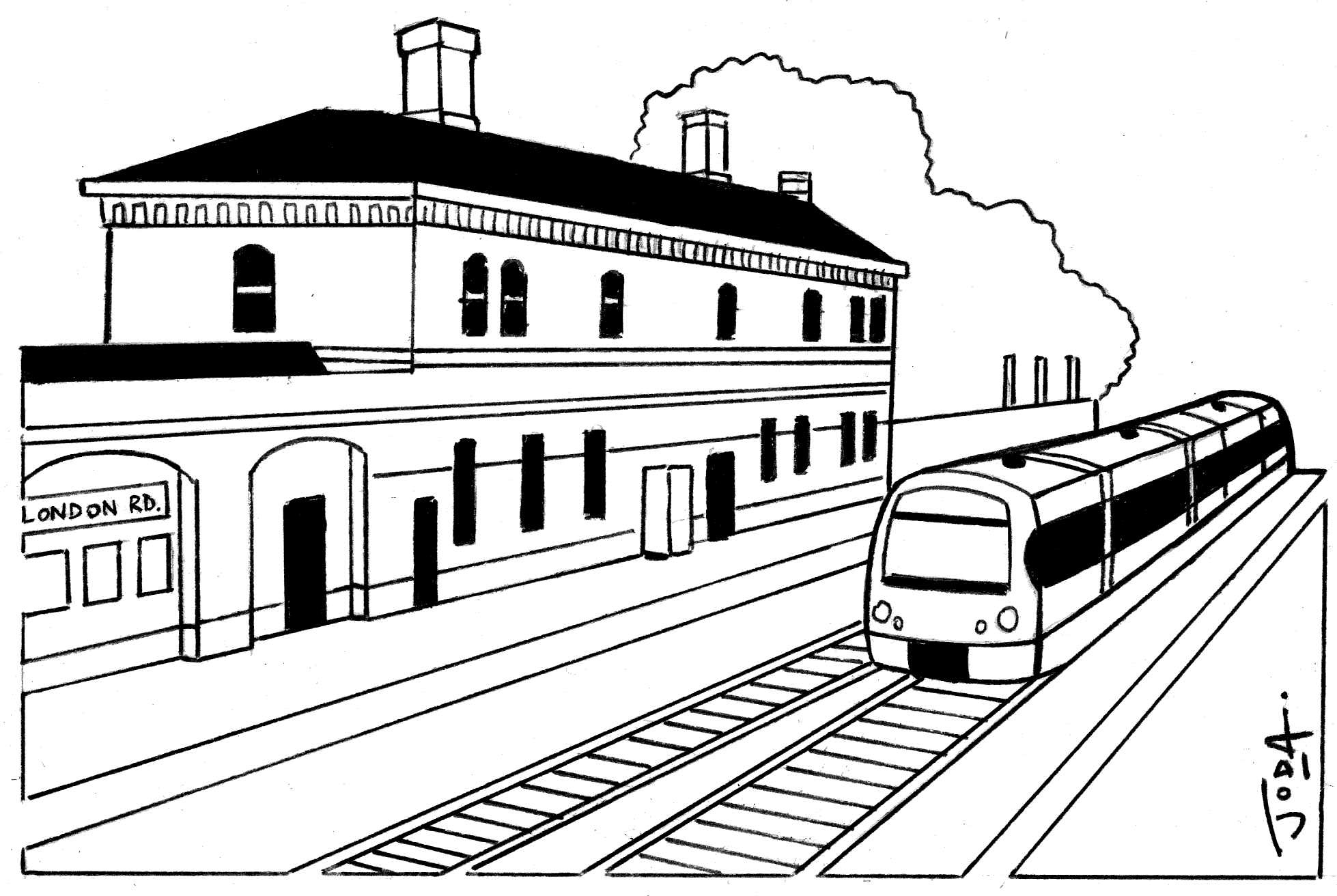 1958x1312 drawing station railway station for free download