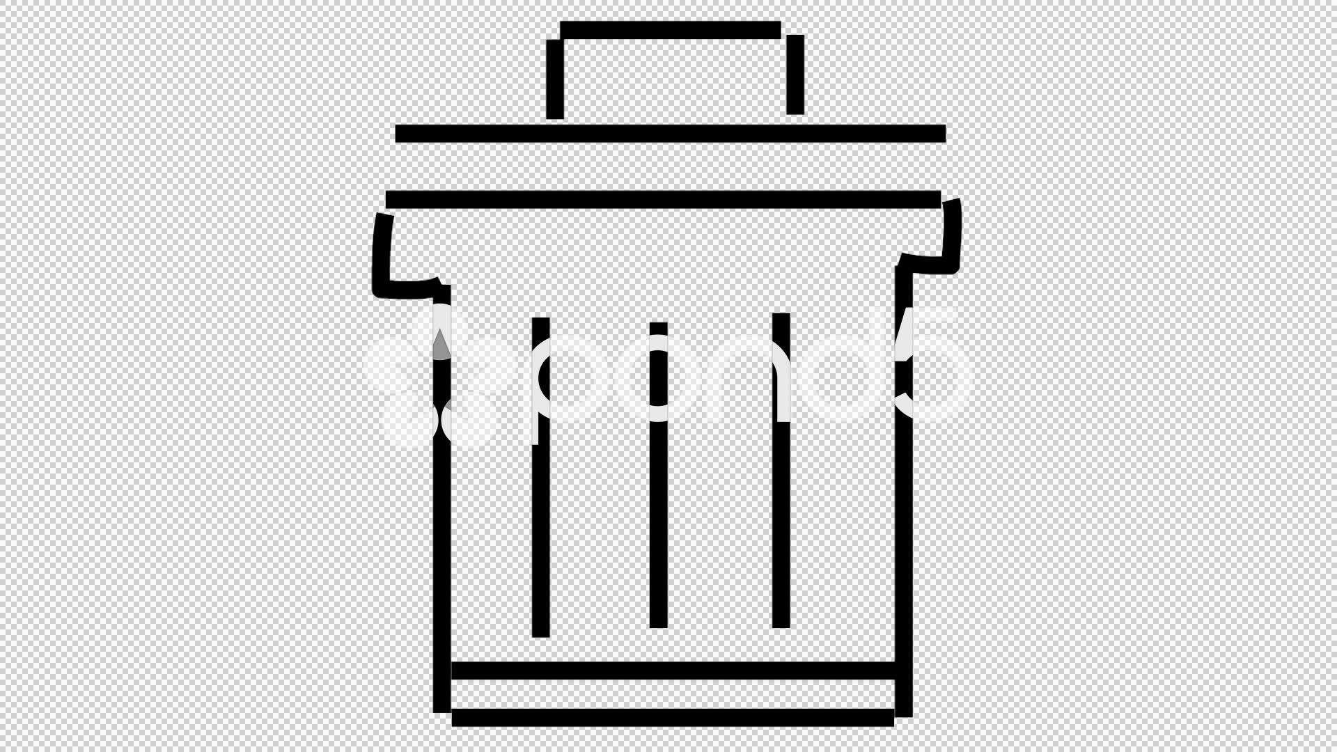 1920x1080 Trash Bin Dustbin Line Drawing Illustration Animation