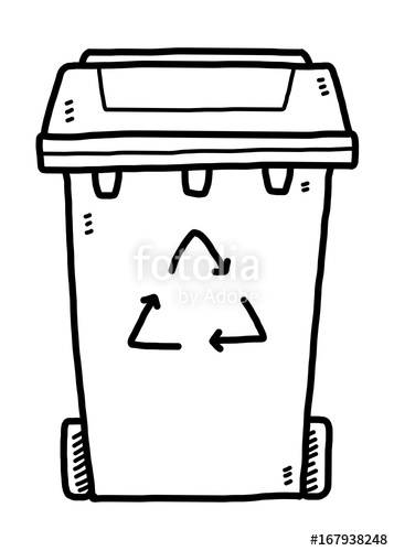 357x500 Recycle Bin Cartoon Vector And Illustration, Black And White