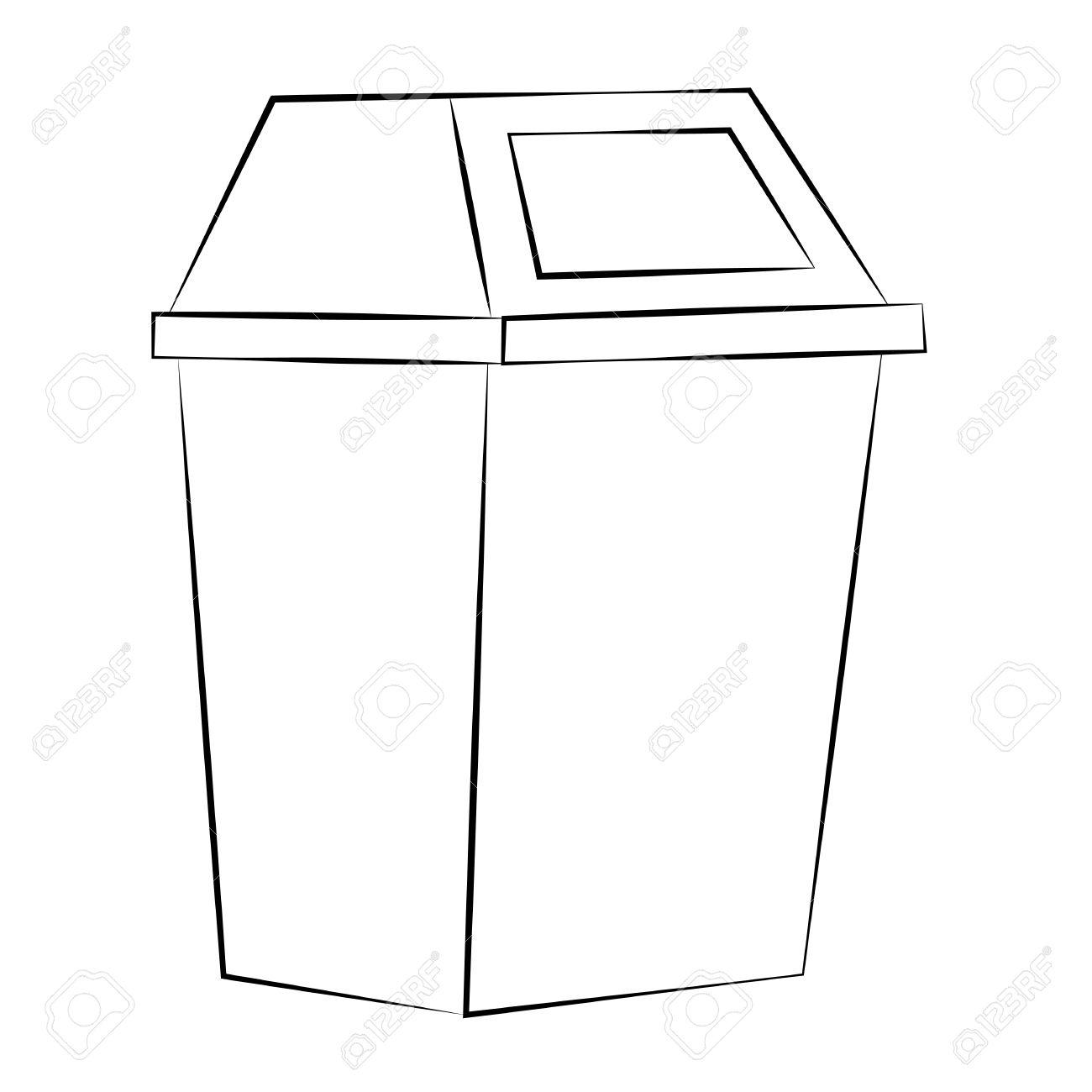 1300x1300 Trash Can Outline Clip Art
