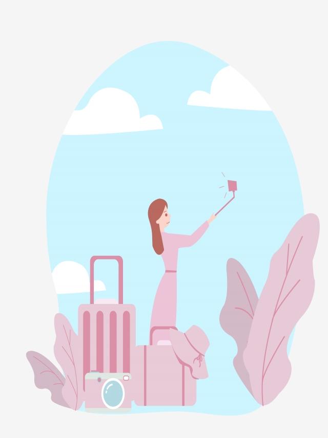 640x856 Pink Girls Travel Self Portrait Hand Drawing, World Tourism Day